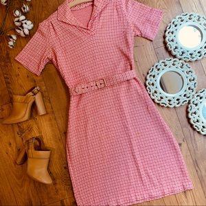 Vintage 1960s Pink Herringbone Dress with Belt